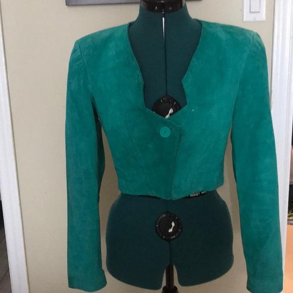 Vintage Danier Suede Blazer Jacket Green XS-S Mint